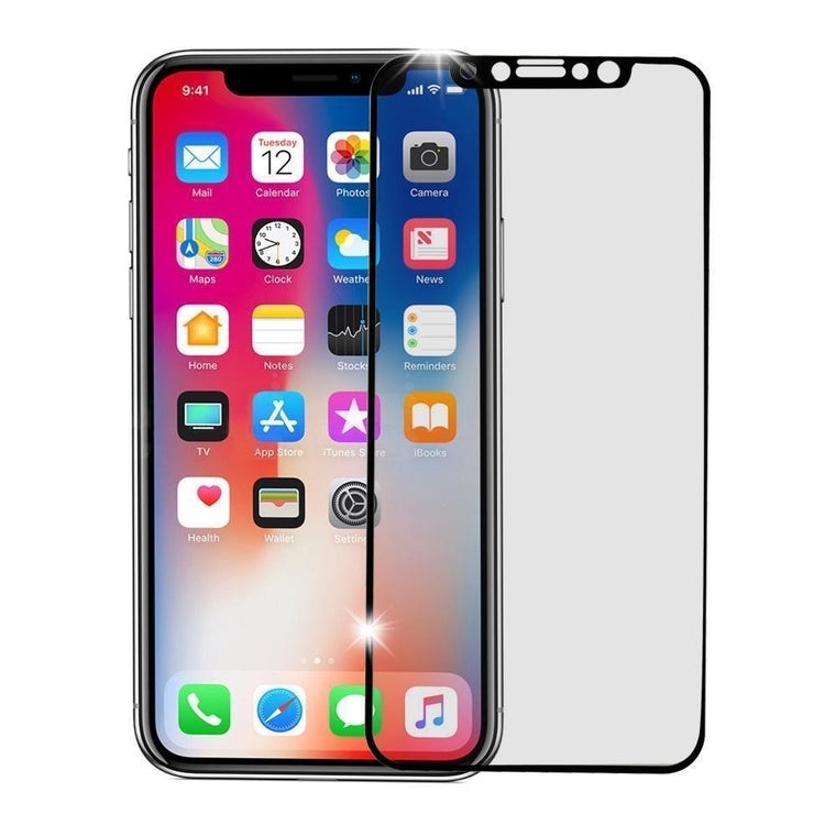 iPhone X Screen Protector Full Coverage Tempered Glass - Black - MyPhoneCase.com