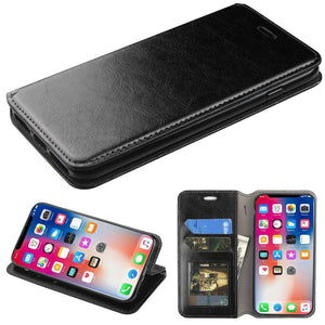 MyJacket Flip Stand Leather Wallet iPhone X / Xs Case - Black - MyPhoneCase.com