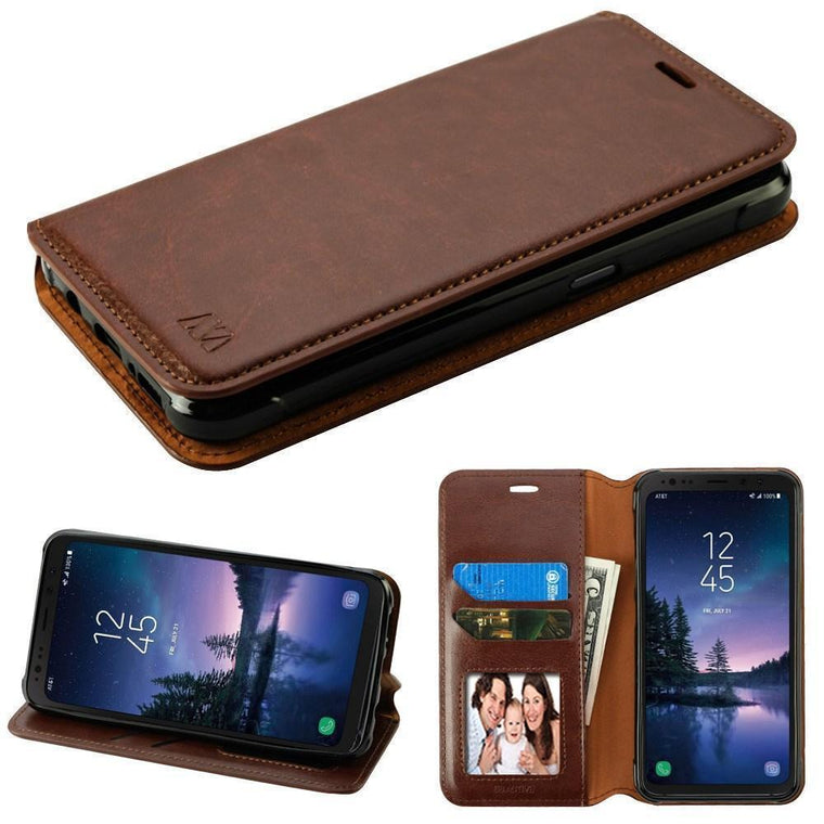 Myjacket Flip Cover Leather Wallet Galaxy S8 Active Case - Brown - Myphonecase.com