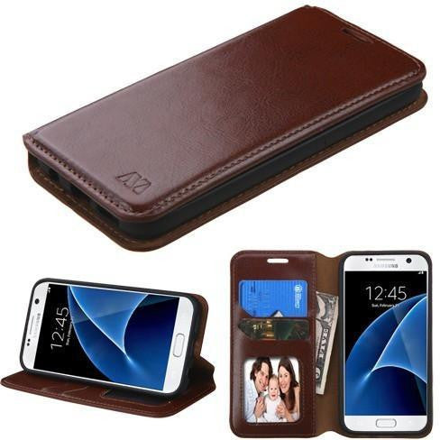 Mybat Flip-Stand Leather Wallet Samsung Galaxy S7 Case - Brown - Myphonecase.com