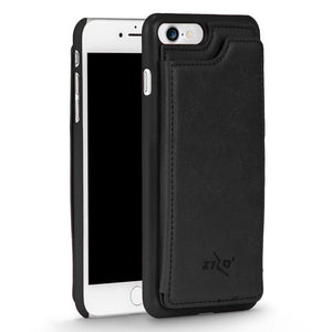 ZV Leather Back Cover Wallet iPhone 7 / iPhone 8 Case - Black - MyPhoneCase.com