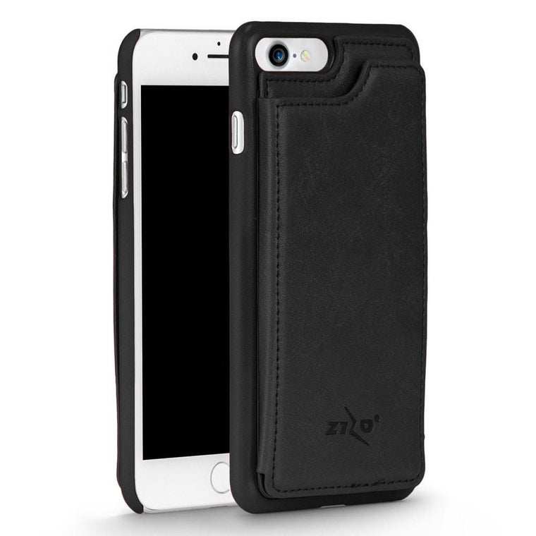 Zizo Premium Leather Back Cover Wallet Apple iPhone 7 Case - Black - MyPhoneCase.com - 1