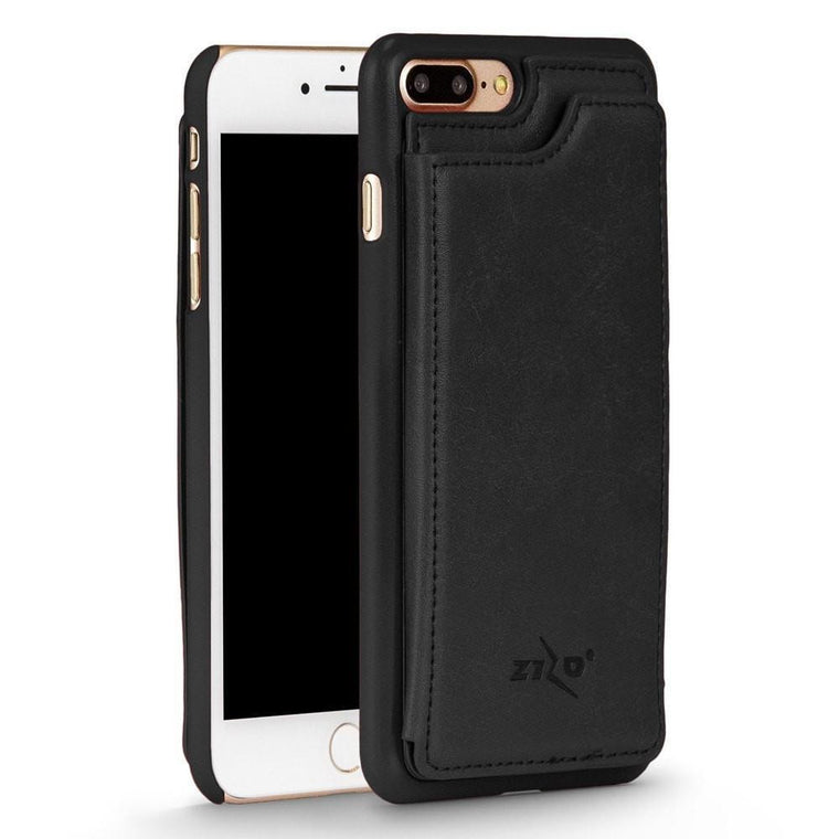 Slim Leather Back Wallet Iphone 7 Plus / 8 Plus Case - Black - Myphonecase.com