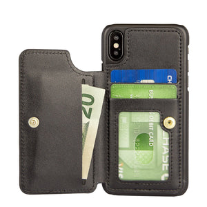 ZV Premium Folio Back Cover Wallet iPhone X / Xs Case - Black - MyPhoneCase.com