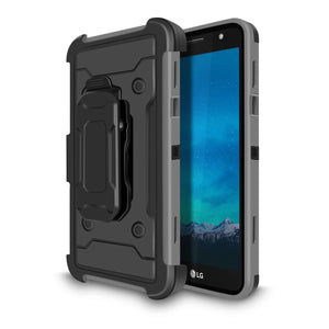 Rugged Armor Holster LG X Power 2 / Fiesta / X charge Case - Gray - MyPhoneCase.com