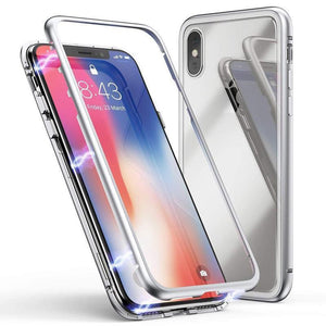 Magnetic Adsorption Metal Frame Tempered Glass iPhone XR Case - MyPhoneCase.com