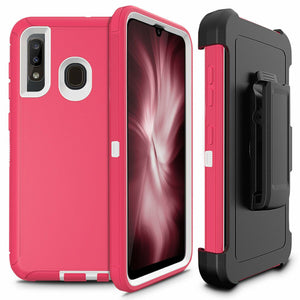Rugged Defender Galaxy A20 (2019) Case Holster - Pink/White - MyPhoneCase.com