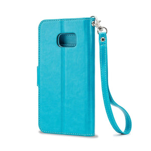 Flip-Stand Leather Wallet Samsung Galaxy S7 Case - Aqua Blue