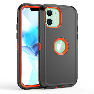 Tough Armor Defender iPhone 12 / 12 Pro Case w/ Holster - Black/Orange - MyPhoneCase.com
