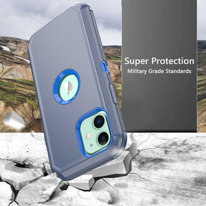 Tough Armor Defender iPhone 12 / 12 Pro Case w/ Holster - Navy/Blue - MyPhoneCase.com