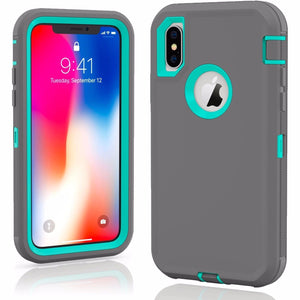 MPC Rugged Shockproof Shell iPhone X / Xs Case - Gray/Teal - MyPhoneCase.com
