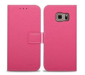 Flip-Stand Leather Wallet Samsung Galaxy S7 Case - Hot Pink