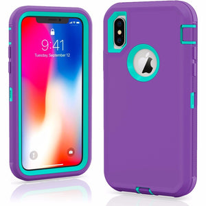 MPC Rugged Shockproof Shell iPhone X / Xs Case - Purple/Teal - MyPhoneCase.com