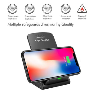 Fast Wireless Charging Pad Stand (7.5W Apple / 10W Samsung) - Black - MyPhoneCase.com