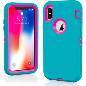 MPC Rugged Shockproof Shell iPhone X / Xs Case - Teal/Hot Pink - MyPhoneCase.com