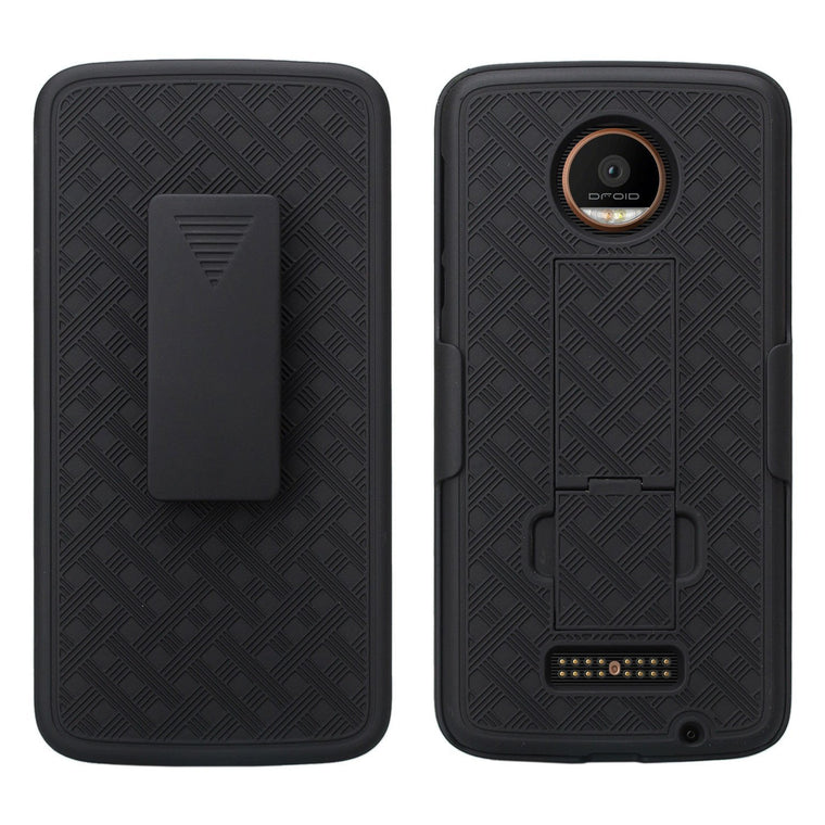 Verizon Fitted Shell Moto Z Droid Kickstand Case Holster Combo - Myphonecase.com