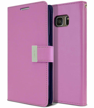 Flip-Stand Luxury Leather Wallet Samsung Galaxy S7 Edge Case - Purple