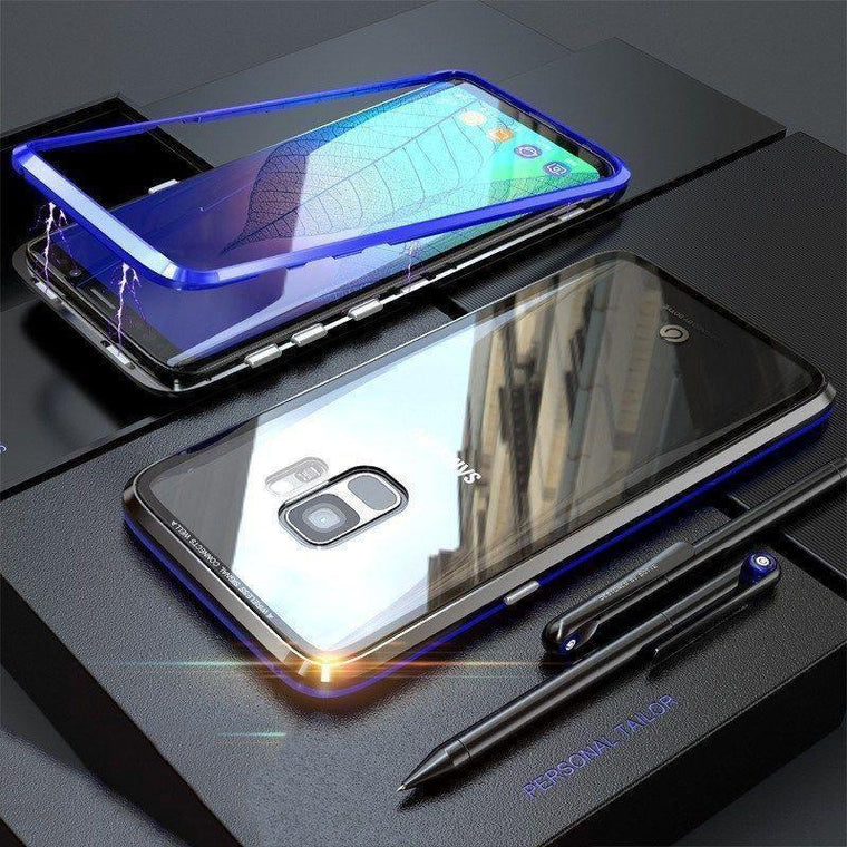 Magnetic Adsorption Metal Clear Glass Galaxy S9 Case - Black/Blue