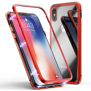 Magnetic Metal Frame Tempered Glass iPhone X/XS Case - Red - MyPhoneCase.com