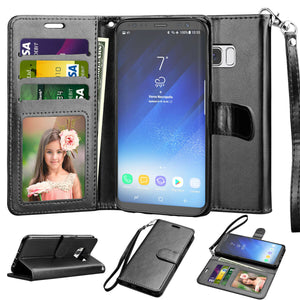 MYBAT Flip-Stand Leather Wallet Samsung Galaxy S7 Case - Black