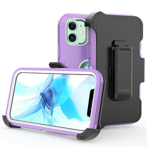 Tough Armor Defender iPhone 12 / 12 Pro Case w/ Holster - Purple - MyPhoneCase.com