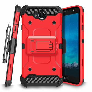 Rugged Armor Holster LG X Power 2 / Fiesta / X charge Case - Red - MyPhoneCase.com