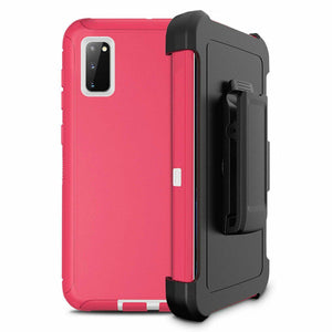 Heavy Duty Shockproof Galaxy S20 Defender Case w/ Belt Clip Holster - Pink