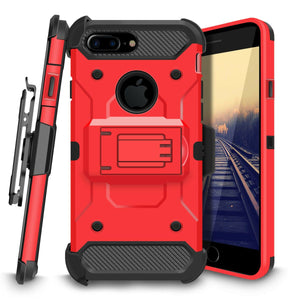 Trio Pro Tough Armor Holster iPhone 7 Plus / 8 Plus Case - Red