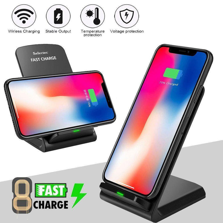 Qi Wireless Charging Pad Stand Fast Charging - Black - Myphonecase.com
