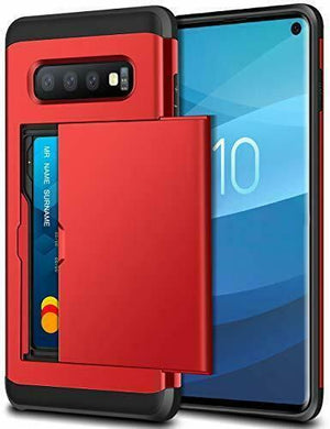 Shockproof Card Slot Wallet Galaxy S10 Case - Red - MyPhoneCase.com