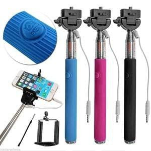 Selfie Stick Handheld Monopod w/ Built-in Shutter Button - Blue - MyPhoneCase.com