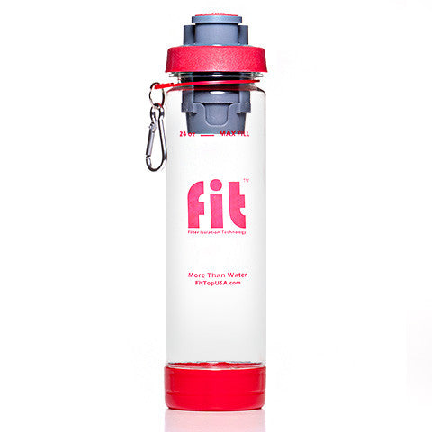 FIT Top Filtered Water Bottle 24oz Clear Red