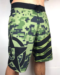 "UDown ""Digi"" Board Shorts (Greens/black)"