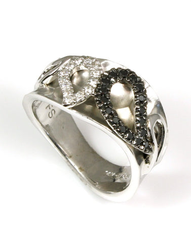 Black and White Diamond Leaf Ring