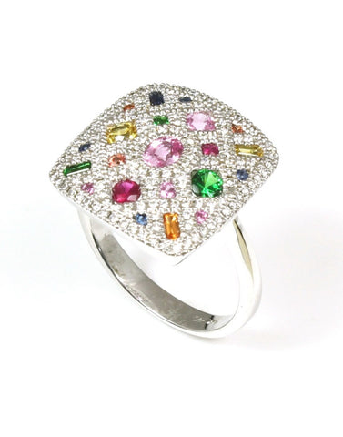 Natural Multi Colored Sapphire and Diamond Pave Ring by Allison Kaufman