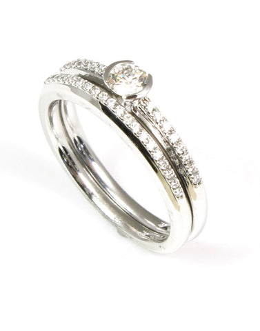 Diamond Engagement and Wedding Band Set