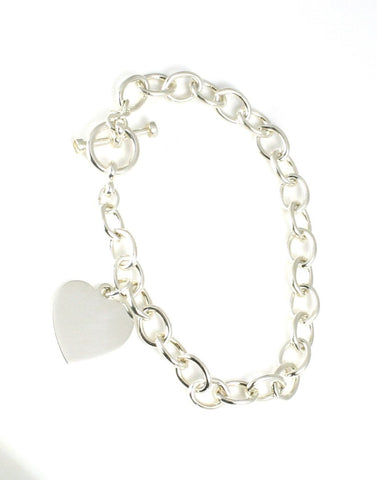 Cable Link Bracelet w/Heart Toggle