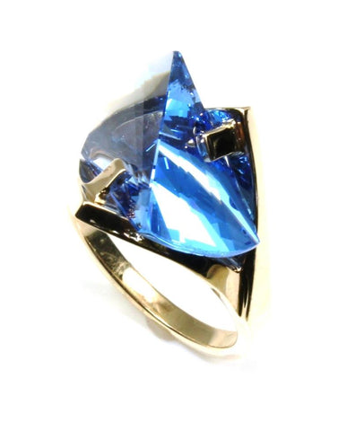 Blue Spinel Lighthouse Cut Ring