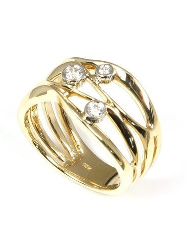 Yellow Gold Bezel Diamond Orbit Ring by Allison Kaufman