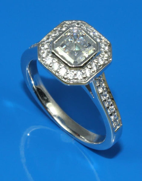 Asscher Diamond Halo Ring Setting