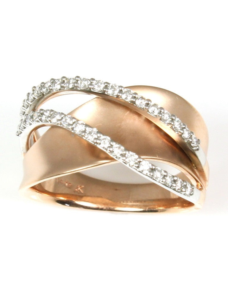 Rose Gold and Diamond Twist Ring by Allison Kaufman Wilsonville