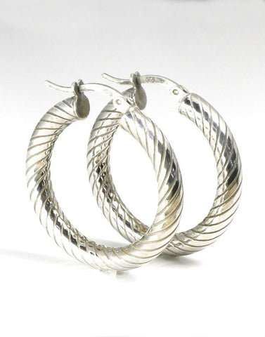 Italian Texured Hoop Earrings