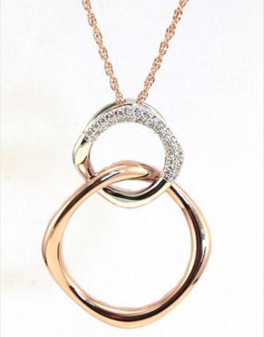 Rose and White Gold Square Diamond Necklace