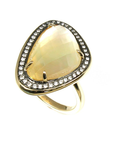 Citrine Mother of Pearl Crystal Haze and Diamond Fashion Ring