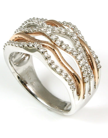 Rose and White Gold Diamond Orbit Fashion Ring by Allison Kaufman