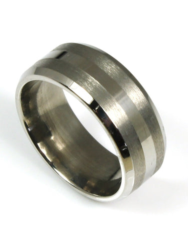 Titanium Striped Band by Heavy Stone Rings