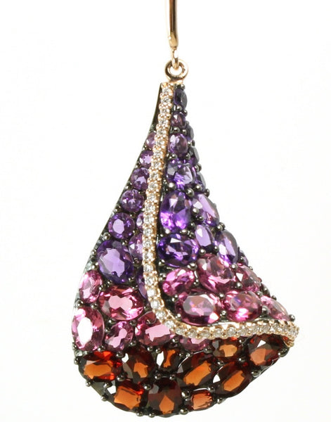 Amethyst, Pink Tourmaline, Garnet, and Diamond Sail Necklace by Allison Kaufman