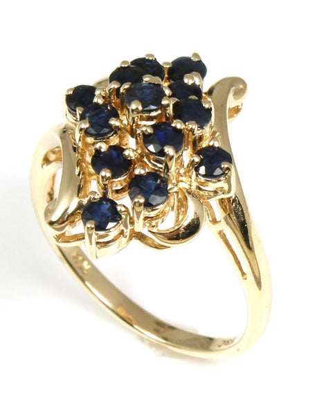 Sapphire and Diamond Popcorn Cluster Ring