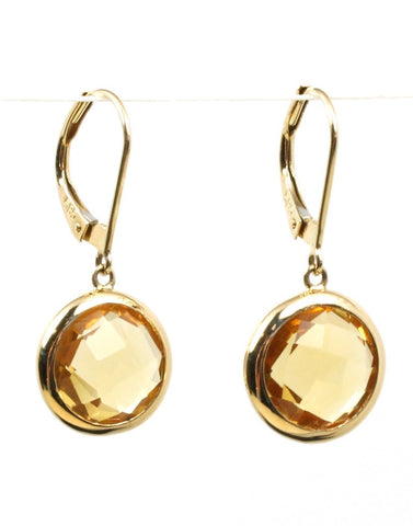 Citrine Bezel Rock Candy Drop Earrings