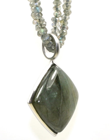 Labradorite Pendant and Chain Necklace by Bastian-Inverun